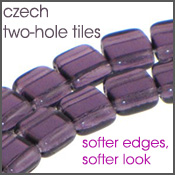 czech two-hole tile beads