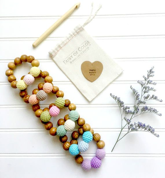 Wooden and crochet beads